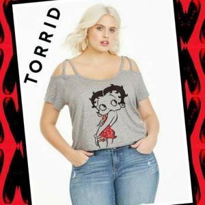 TORRID Betty Boop Sequin Cold Shoulder Tee